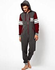 NEW LOOK MENS ONESIE ALL- IN -ONE GREY COLLEGE M OR NAVY AZTEC BNWOT S-M-L