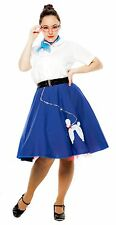 Hey Viv ! 50's Fashion Sock Hop Cotton Poodle Skirt in Royal Blue