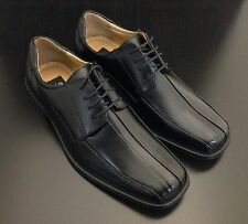 NXT Men's Leather Lace Up Dress Shoe Bicycle Toe Derby N645 Black