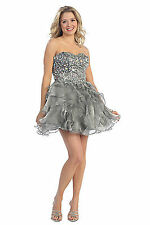 Fancy Short Strapless Prom Dress Formal Rhinestone Bodice Plus Size Clearance