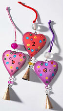 Vintage Chic Iron Hanging Heart with Bell Christmas Tree Decoration Fair Trade