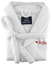 Personalised Embroidered Terry Towelling Cotton Bathrobe  Bath Robe White