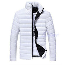 Men Jacket Cotton Padded Stand Collar Coat Parka Winter Warm Overcoat Outwear