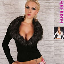 New Sexy Womens Faux Fur Jacket Size 6 8 10 12 Jumper Sweater Stretchy Cardigan