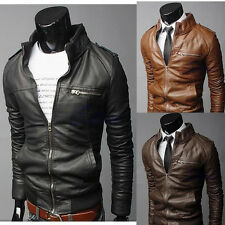 Stylish Men Cool PU Leather Jacket Coat Motorcycle Style Punk Slim Jacket Blazer