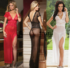 Woman's Sexy  Lingerie Sheer Side Slit Lace Bodice Gown Long Dress + G-String