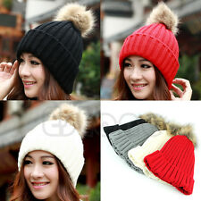 Chic Women Crochet Knitting Wool Hats Beret Ski Beanie Ball Hat Winter Warm Caps