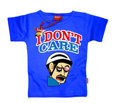 KIDS CHILDRENS BOYS GIRLS HAPPY WHEELS INSPIRED I DONT CARE T-SHIRT (BLUE)