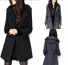 Fashion Womens Wool Long Double Breasted Hood JACKET coat Trench Blazer S--XL