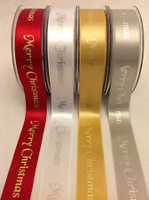 'Berisford' MERRY CHRISTMAS Polyester/Satin Ribbon - 25mm Wide