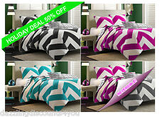 4pc Shabby Chic Zig Zag Reversible Bedspread Quilt set with shams, Queen