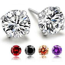 Sterling Silver 925 4-Prong Round Crystal Cubic Zirconia CZ Stud Earrings 3-8mm