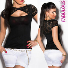 New Sexy Womens Lace Top Size 8-10 Short Sleeve Cut out Shirt Blouse Stretch Fit