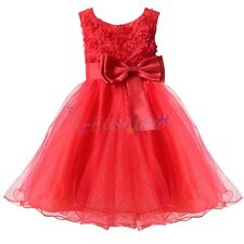 GIRLS CHRISTMAS ROSE FLOWER DRESS WEDDING BRIDESMAID PAGEANT PARTY DRESSES GIFT