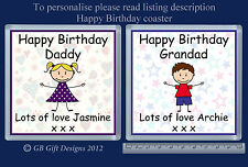 PERSONALISED COASTER HAPPY BIRTHDAY BOY OR GIRL ANY RELATION - GIFT PRESENT