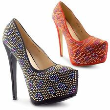 Womens Ladies High Heel Concealed Platform Pointed Diamante Court Shoes Size 3-8