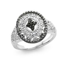 Black & Whtie Diamond Accent Oval Ring in Sterling Silver