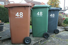 8 x WHEELIE BIN NUMBERS  HOUSE AND ROAD/STREET NAME VINYL GRAPHIC STICKERS