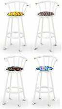 "FC46 WHITE FINISH METAL 29"" TALL SWIVEL BACKREST SEAT CUSHION KITCHEN BARSTOOLS"