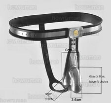 Latest stainless steel chastity belt pant, padded with silicone, dick cage +plug