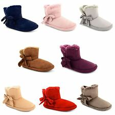 New Ladies Womens Faux Furry Lined Warm Comfy Bow Ankle Bootie Slippers Sizes