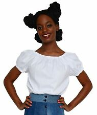White Peasant Blouse - Retro Boho, Hippie or Rockabilly Pin Up Top - Hey Viv
