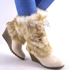 NEW WOMENS OFF WHITE MIDCALF FUR SHAFT HIGH WEDGE BOOTS