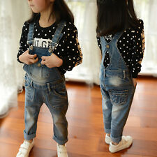 Children's Girls Washed Jeans Overalls Jeans Long Denim Bib Overall VJ0017