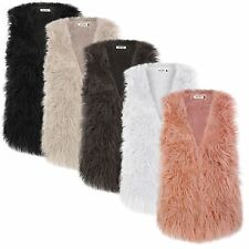 LADIES LONG FAUX FUR GILET LADIES WAISTCOAT FASHION VEST JACKET UK SIZE 8-14