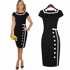 Women's Navy Black Sailor Nautical Pinup Rockabilly Vintage Retro Pencil Dress