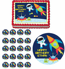 Outer Space Astronaut Edible Birthday Cake Topper Cupcake Party Decoration