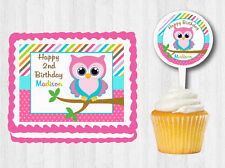 Bright Owl  Edible 1s Birthday Baby Shower Party Cake Topper Cupcake Decoration