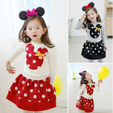 Hot Sale Kids Mickey Minnie Mouse Long SLeeve Girls Set Top+Dress Costume Outfit