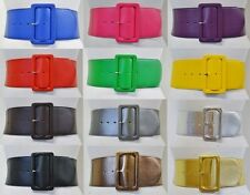 Classy Retro 80s Mod Leather Elastic Stretch Wide Cinch Waist Belt Multicolor