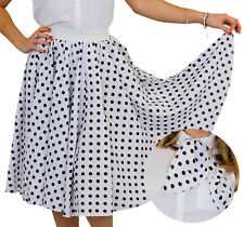 WHITE POLKA DOT SKIRT WITH BLACK SPOTS & SCARF 1950S ROCK AND ROLL FANCY DRESS