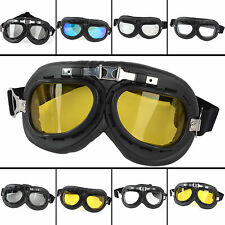 5 Lens Color Folding Motorcycle Goggles Glasses Eyewear f/Aviator Pilot Cruiser#