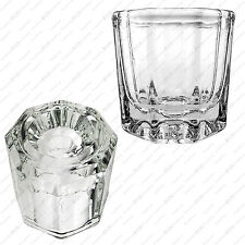 Octagonal Crystal Glass Cup Dappen Dish for Arcylic Nail Art Liquid Powder LOT