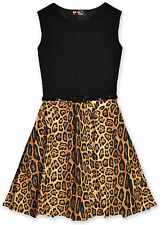 Girls Animal Print Skater Dress Kids Party Dresses New 7 8 9 10 11 12 13 Years
