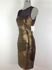 Calvin Klein NWT Gold and Black Dress Pleated front with See Thru Upper chest