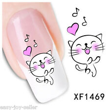 Nail Art Tip Water Transfers Decal Sticker Heart Music Note Smiling Cat XF1469 E