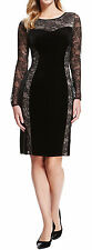 Marks and Spencer Collection Ladies Black Lace Velour Dress UK 8 - 14