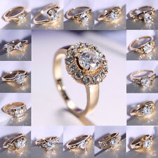 18K White Gold Filled Jewelry Gift white Sapphire Engagement Ring Uk SIZE 8 New