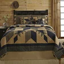 NEW DAKOTA STAR QUILT 5 PC SET VHC COUNTRY QUEEN OR KING 2 PILLOW CASES-2 SHAMS