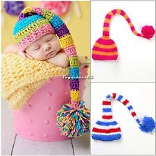 Newborn/Baby Crochet Long Tail With Ball Hat and Photo Prop 2 Color Hot Sale new