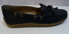 LADIES WOMENS PREMIUM LEATHER LANDS END BLACK LOAFER MOCCASIN DRIVING SHOES UK 4