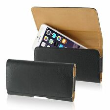 Black Horizontal Belt Clip Holster Flip Leather Case Pouch For Mobile Phones