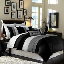 NEW! 12pc Faux Silk Pleated Black Grey and White Comforter Set + 4pc Sheet Set