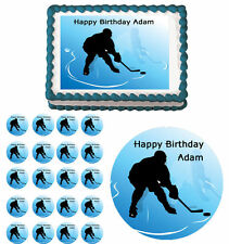 Ice Hockey Edible Birthday Cake Cupcake Toppers Party Decorations Images