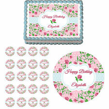 Shabby Chic Vintage Flower Mothers Day Edible Birthday Cake Cupcake Topper