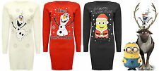 Ladies New Knitted Tunic Olaf Frozen Christmas Xmas Top Jumper Long Dress 8-12